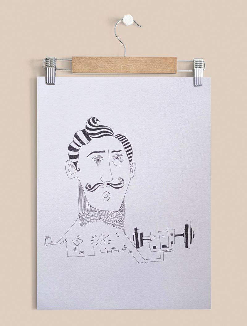 Fuerza él, lámina con Ilustración sobre papel verjurado 300gr.