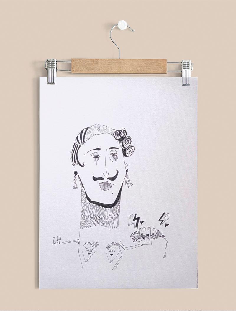 Fuerza ella, lámina con Ilustración sobre papel verjurado 300gr.