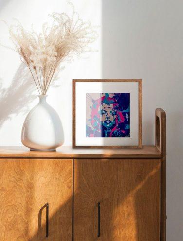 mock up de Merilyn abstracta con líneas más difusas que imitan al movimiento del agua