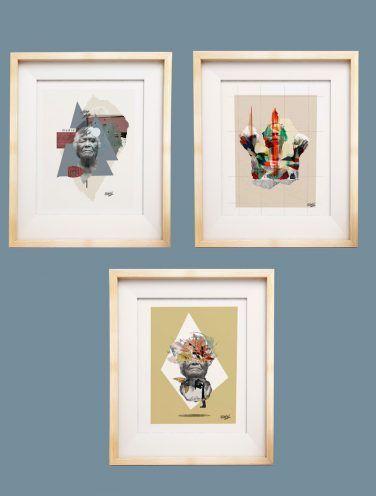 pack de tres láminas que representan a la madre tierra cada uno con su fondo: triángulo, rombo y experimental
