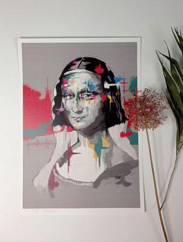 lámina versión pilarcho art de monalisa, impresión de alta calidad sobre papel verjurado blanco mate 330gr.