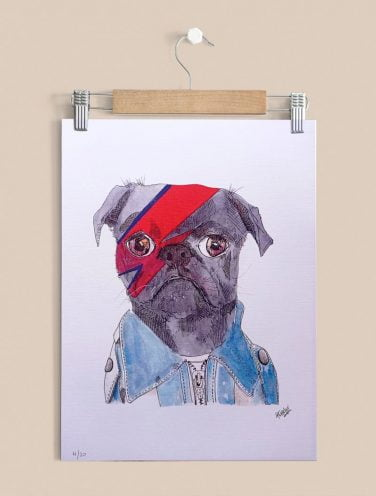 perro bowie impreso sobre papel canva 280gr.