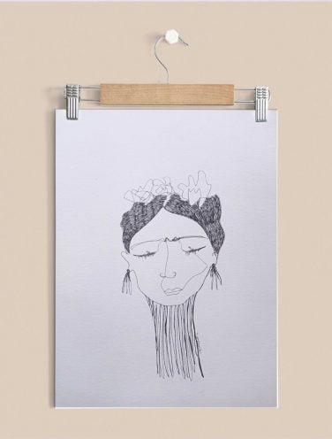 Mujer Línea, retrato a una chica a una sola línea sin levantar el lápiz del soporte, Ilustración sobre papel verjurado 300gr.