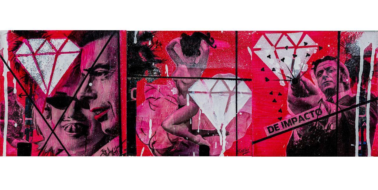 ACRILICO collage de cine en tonos rosas y rojos, MUJER Y HOMBRE