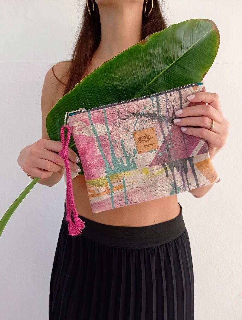 lienzo hecho bolso de la colección wildrose, número 4, lazo rosa
