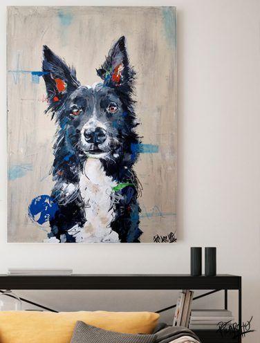 detalle de lienzo por encargo el retrato de un border collie- se llama xana