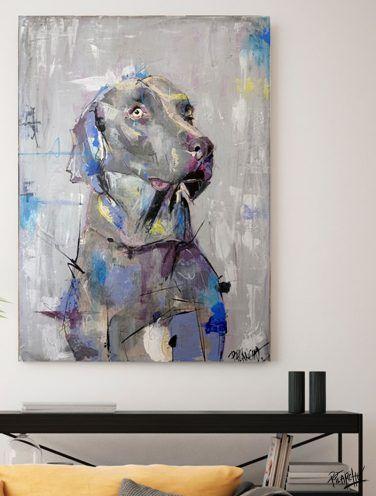 detalle de lienzo por encargo el retrato de un braco de weimar- se llama gómez