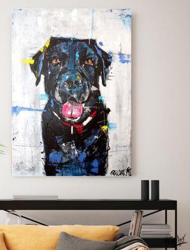 detalle de lienzo por encargo el retrato de un labrador- se llama negri