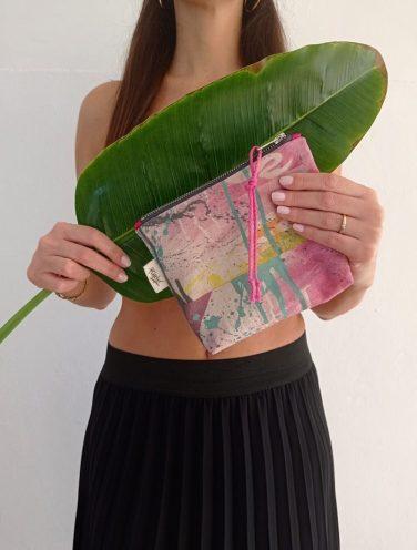 lienzo hecho bolso de la colección wildrose, número 8 referencia 2, lazo rosa