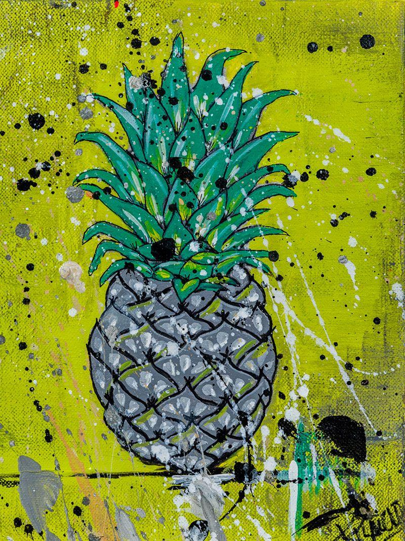 piña gris en fondo amarillo verdoso estilo pilarcho art