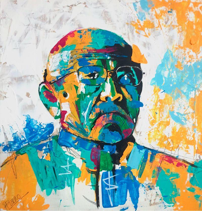 Retrato del abuelo de PILARCHOART- tonos cálidos y naranjas