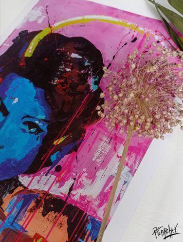 Detalle de la lámina Sarita, impresión en alta calidad sobre cartulina estucada de 300 gr
