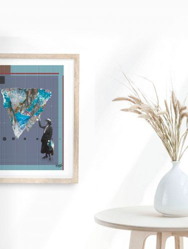 detalle de collage digital de montaña sobre cartulina de 300gr en estucado mate de tamaño A4