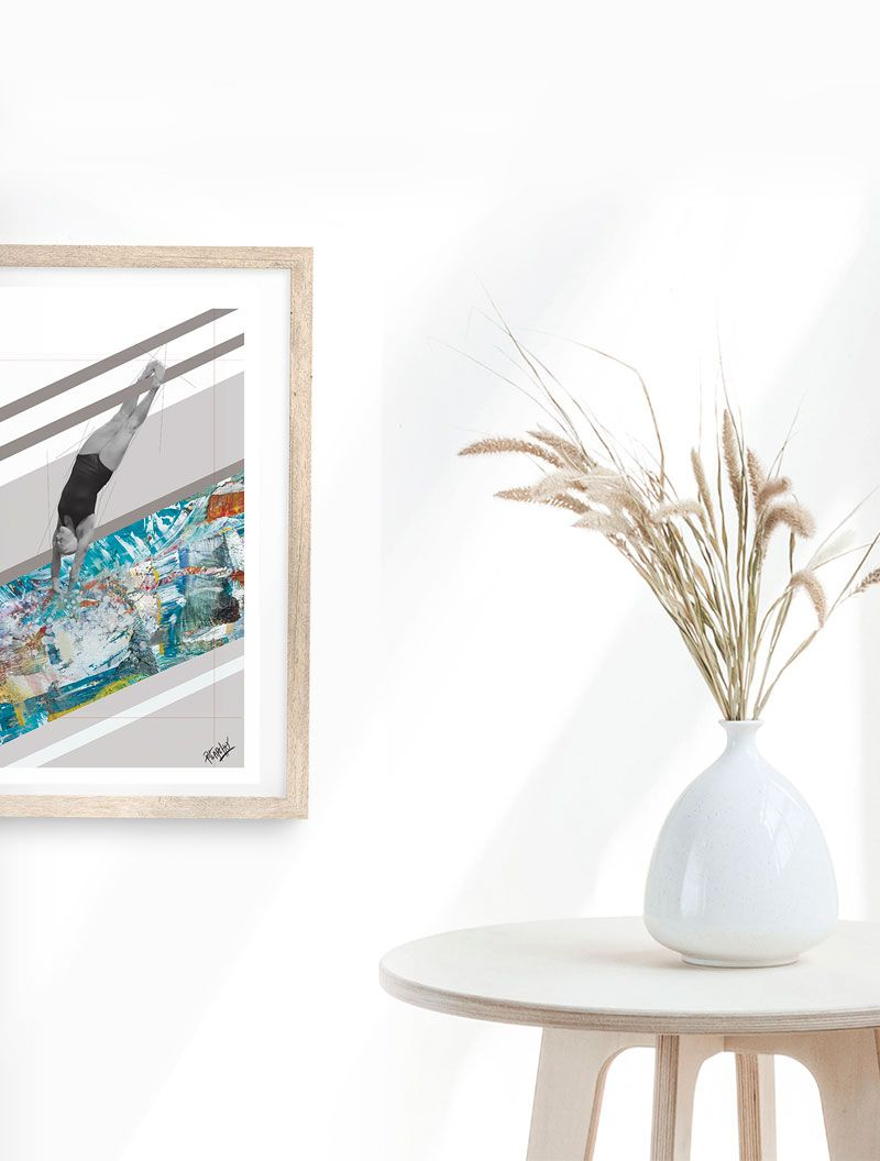 detalle de collage digital de piscina sobre cartulina de 300gr en estucado mate de tamaño A4