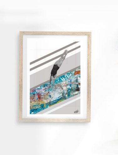 collage digital de piscina sobre cartulina de 300gr en estucado mate de tamaño A4