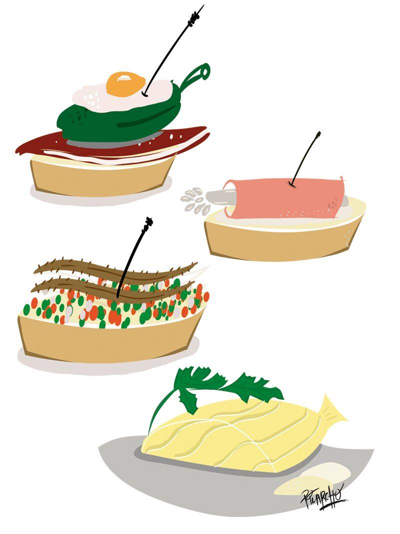 ilustración comida - pinchos