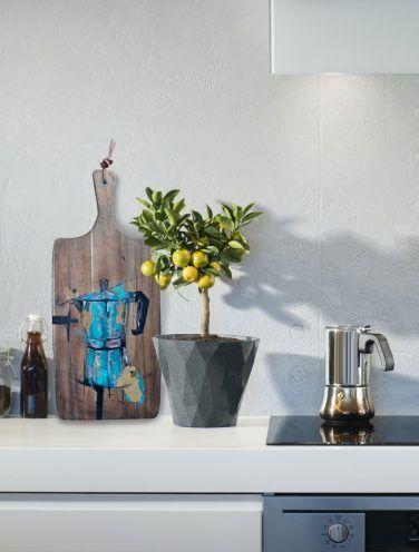 Pieza Original. Cafetera Monix azul sobre madera tratada y envejecida colocada en una cocina elegante