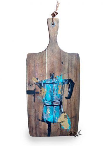 Pieza Original. Cafetera Monix azul sobre madera tratada y envejecida