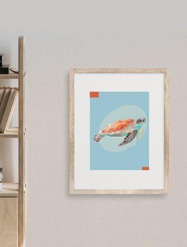 ilustración digital de una tortuga sobre cartulina de 300gr en estucado mate de tamaño A4