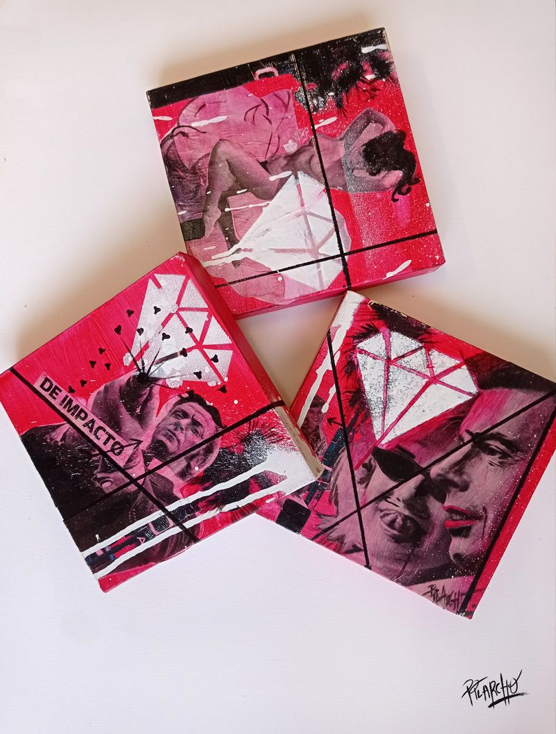 serie de tres lienzos sobre cine color rojo