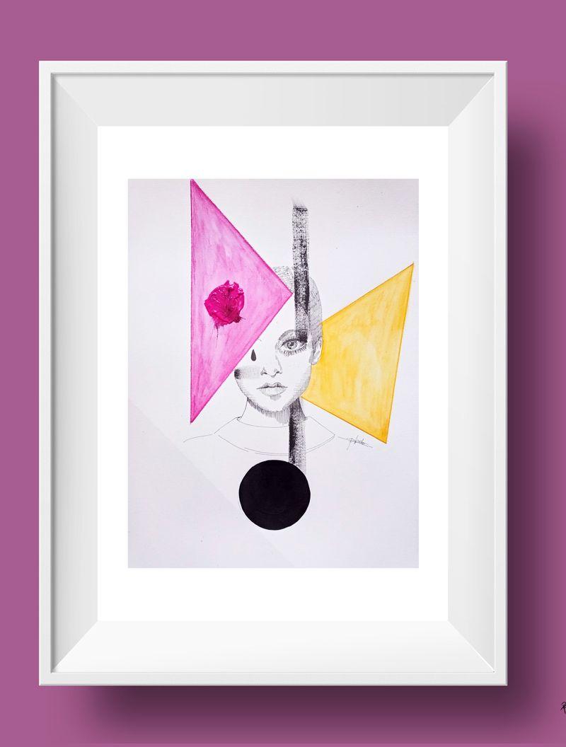ilustración de la lámina twiggy con circulo y triángulos