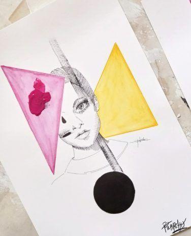 plano detalle de la ilustración twiggy circulo y triángulos