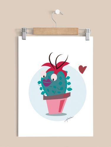 ilustracion infantil de un cactus