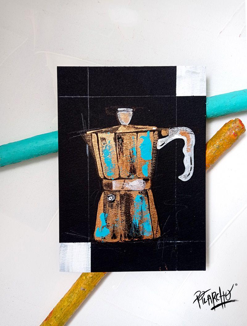 cafetera negra sobre papel de acuarela negro