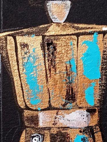 cafetera de cobre pintada sobre papel de acuarela negro