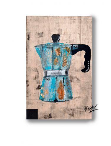 cafetera pintada sobre madera de haya