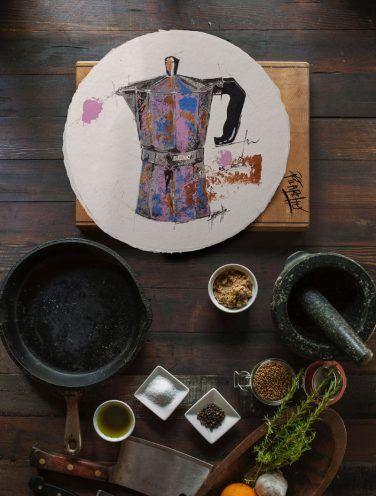 cafetera pintada a mano sobre papel de lino artesanal