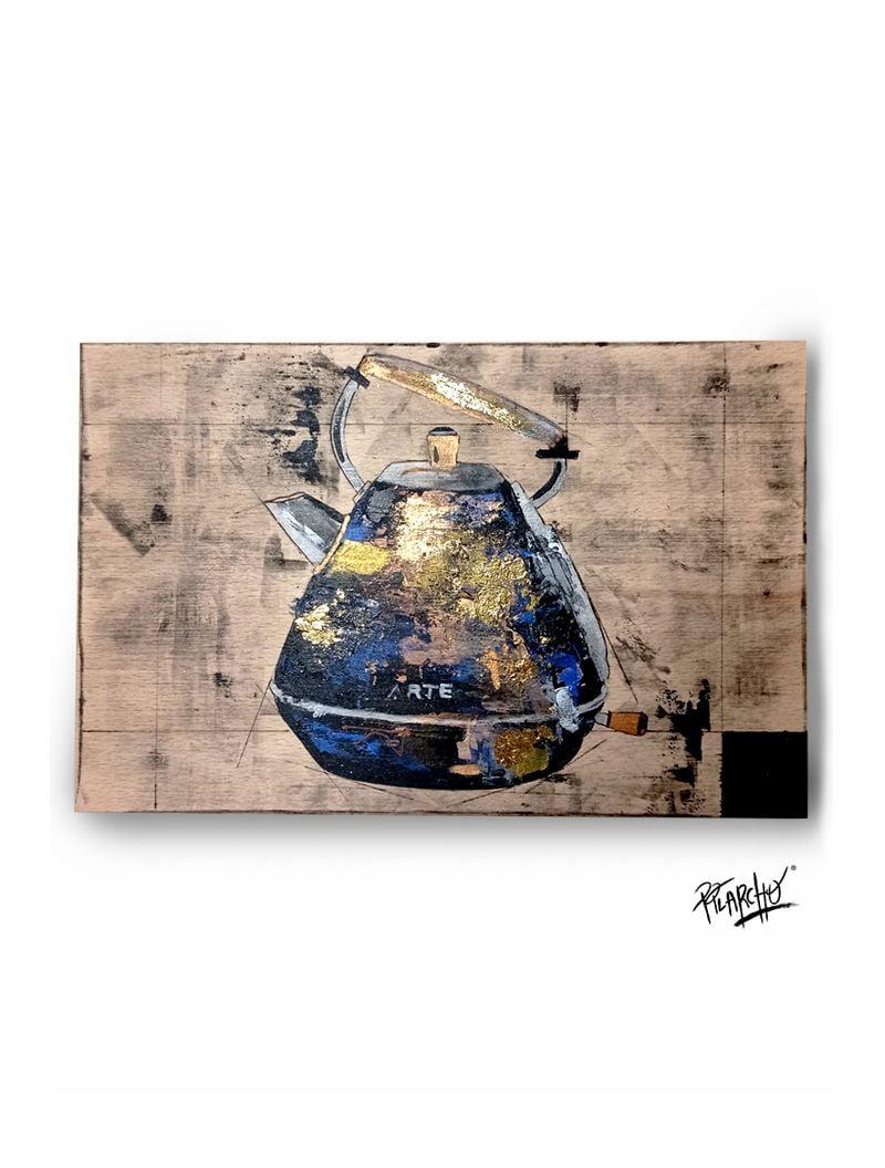 kettle sobre madera de haya